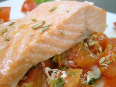 Pavé de saumon aux graines de fenouil