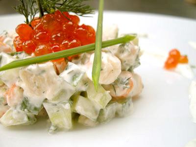 Tartare crevettes concombre et ses œufs de saumon