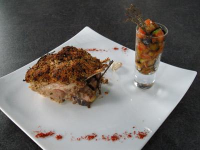 Agneau rôti à l'ail et sa poêlée de légumes provençaux